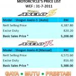 2011 Suzuki Axelo Price List