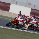 Leon Haslam and Jonathan Rea test 2014 Honda Fireblade SP at Losail, Qatar