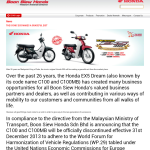 Iconic Honda EX5 Dream 100 will cease out from the Malaysia market from 31st December 2013